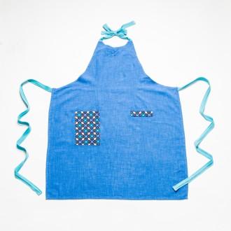 tablier lin bleu
